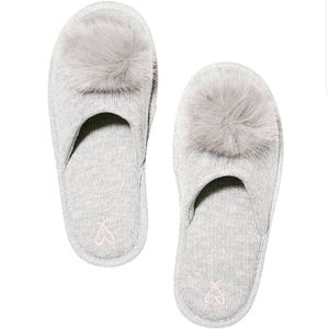 VS gray pom pom slippers LE NWT [limited edition]